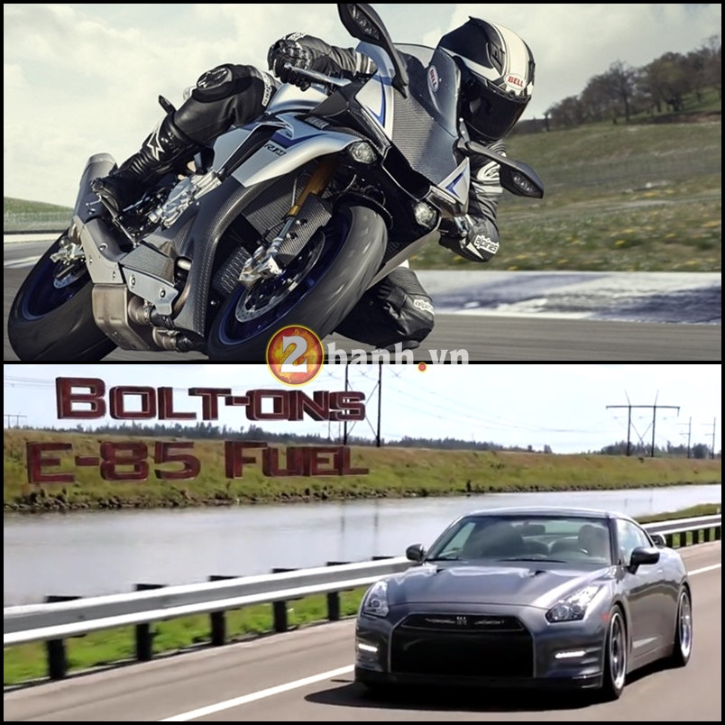 CLip Man so tai toc do giua Yamaha R1M va Nissan GTR R35