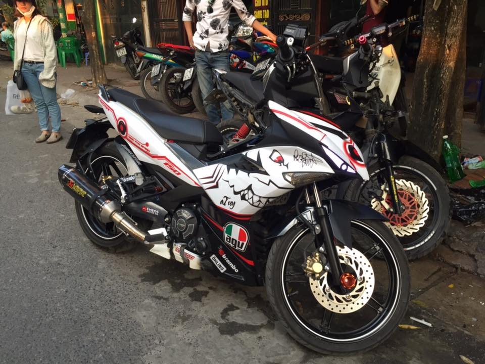 Exciter 150 do po Akrapovic chat lu cung biker full giap - 3