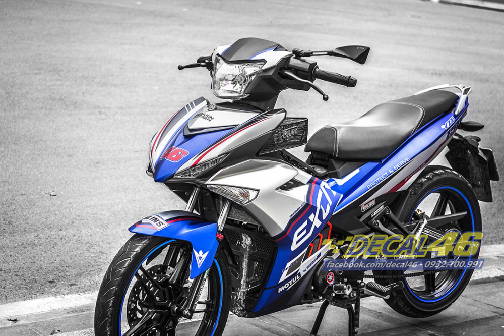 Tem trum Exciter 150 Police xanh bac tai Decal 46 - 2