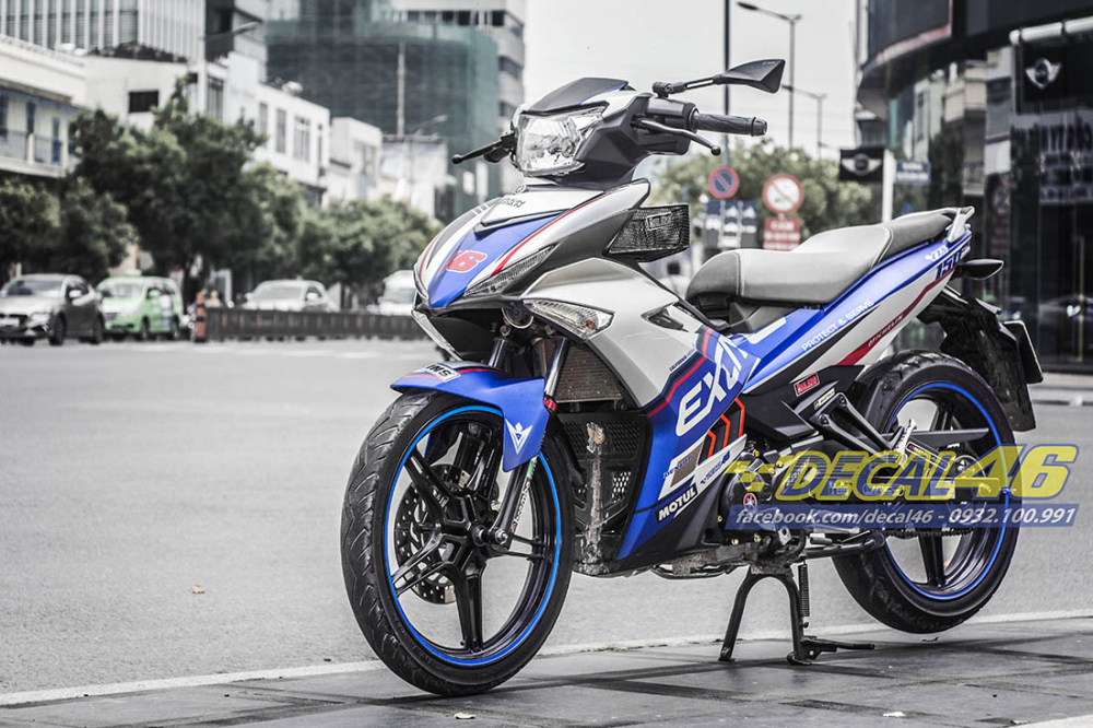 Tem trum Exciter 150 Police xanh bac tai Decal 46 - 5