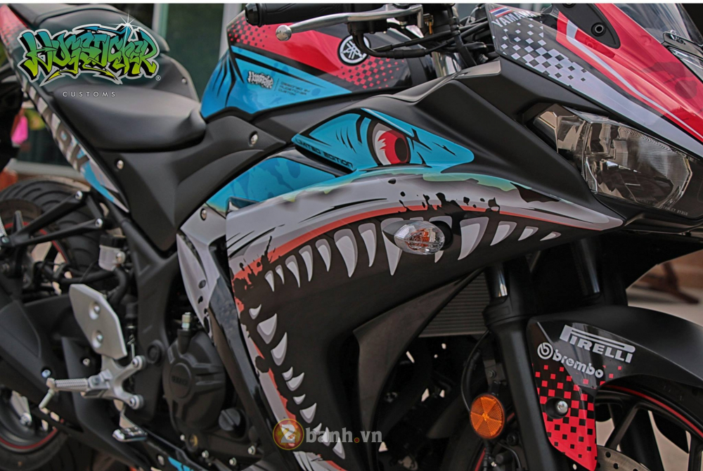 Yamaha R3 thoat xac day an tuong voi dien mao moi mang ten Angry Shark